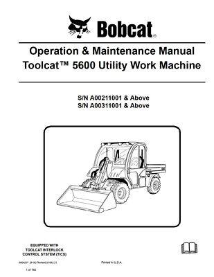 New Bobcat Toolcat 5600 Utility Vehicle Operation Maintenance Manual 6904207