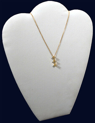 11 White Velvet Chain Pendant Necklace Counter-top Jewelry Display Easel Back
