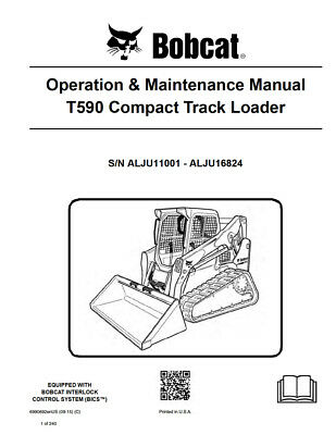 New Bobcat T590 Compact Track Loader Operation Maintenance Manual 6990692
