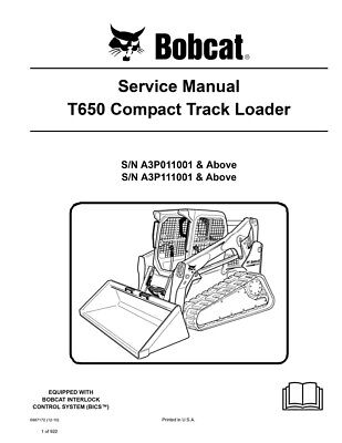 Bobcat T650 Compact Track Loader New 2010 Edition Service Repair Manual 6987172