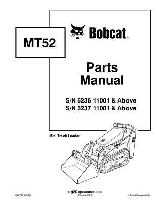 New Bobcat Mt52 Parts Manual 6902706 Free Shipping