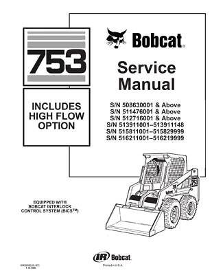 Paper Copy Bobcat 753 Skid Steer Loader Service Repair Manual 6900090 508630001