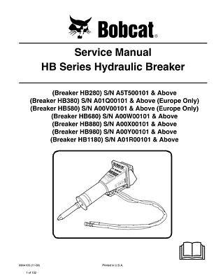 New Bobcat Hb Series Hydraulic Breaker Service Manual 6904105 Free Shipping