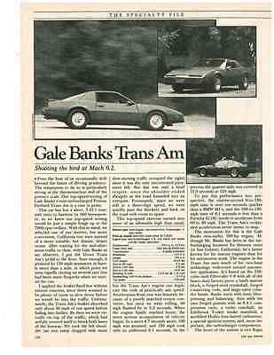 1982 PONTIAC FIREBIRD GALE BANKS TRANS AM  ~  ORIGINAL 2-PAGE ARTICLE / AD