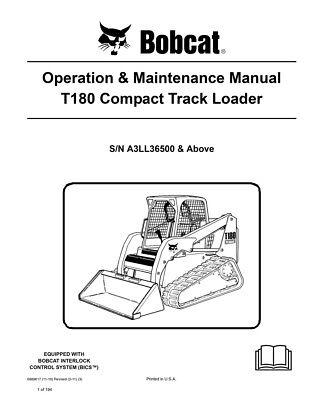 New Bobcat T180 Compact Track Loader Operation Maintenance Manual 6989617