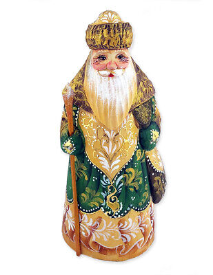 Russian Hand Painted Hand Carved Santa Claus Figurine Father Frost 6 1/2