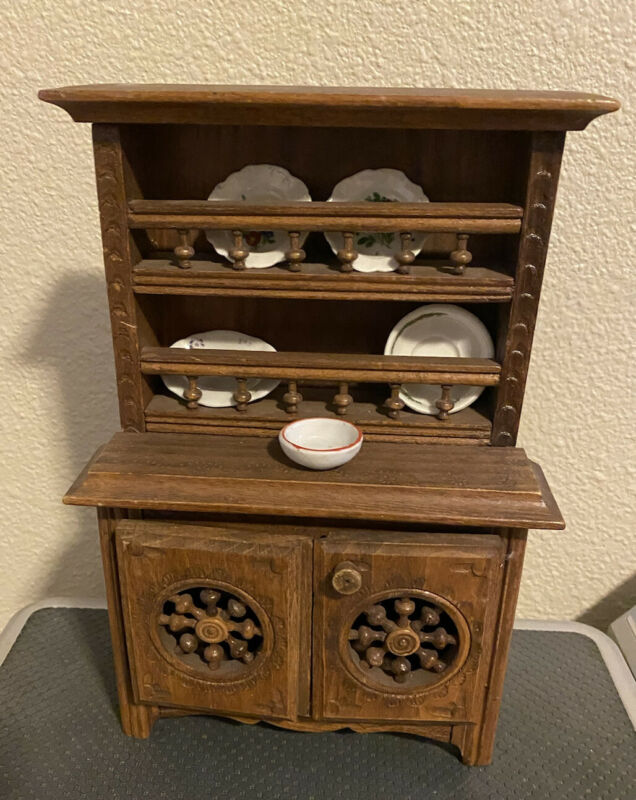 Antique Miniature French Brittany Breton wood Doll Cabinet