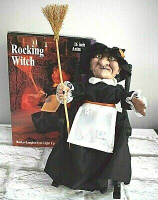 1991 Gemmy Rocking Witch Halloween Animated Light Up Eyes Cackle Laugh SEE COND