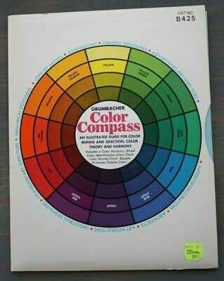 Color Mix Chart - Vintage 1972 M. GRUMBACHER Color Compass & Harmony Wheel Mixing Chart B425