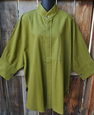 Dilemma Art To Wear Hand Woven 100  Cotton Big Shirt In Solid Olive Os