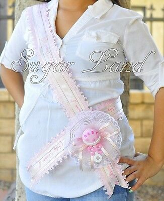 Baby Shower Party Mother Mom To Be Sash It's A Girl Pink Handmade Ribbon Favors