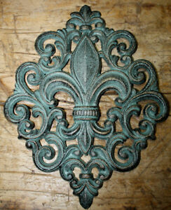 Huge Cast Iron Fleur De Lis Plaque Finial Garden Sign Home Wall Decor Rustic