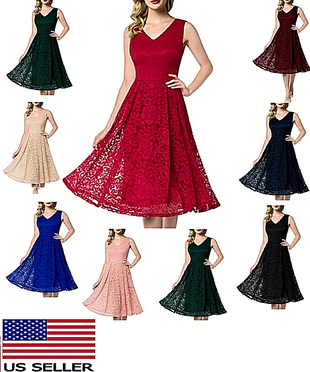 Women's Vintage Floral Lace Cocktail Dress V Neck Fit & Flare Midi Wedding Party Clothing, Shoes & Accessories