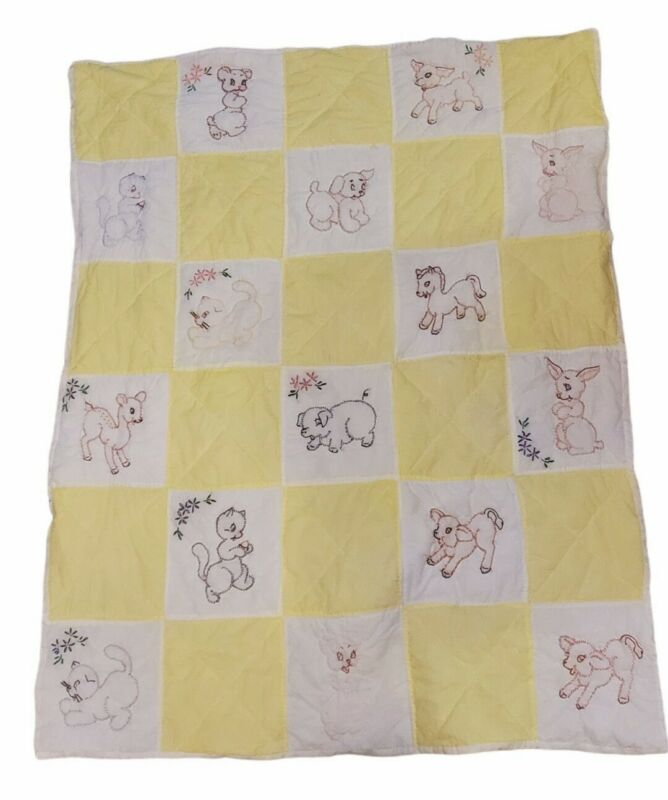 "Vintage Patchwork Baby Quilt Crib Blanket 50"" Emboidered Animals Yellow White"