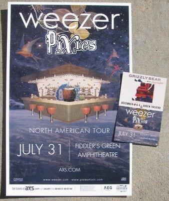 WEEZER & PIXIES 2018 - Fiddlers Green Denver Promo Concert Poster & Handbill