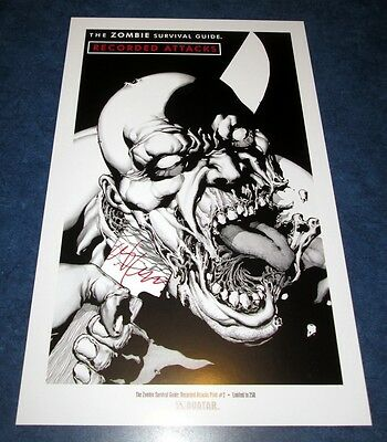 signed MAX BROOKS the ZOMBIE SURVIVAL GUIDE RECORDED ATTACKS print #2 11x17 /250