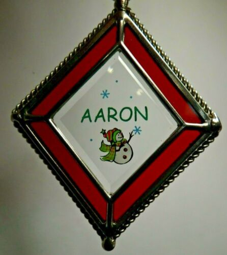 Personalized Stained Glass Snowman Ornament Ganz - 100s of Names!