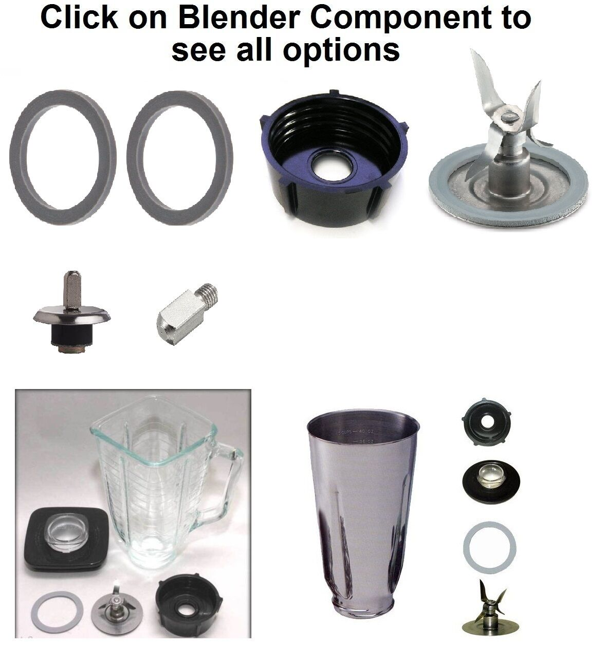Replacement Parts for Oster Blenders,Gasket,Blade,Base,Plast