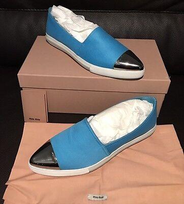 Miu Miu PRADA Slip On Silver Metal Toe Fashion Sneakers Black Flats & Dust Bag