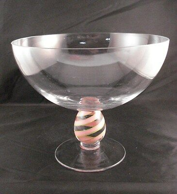 Clear Glass Stemmed Candy Dish Bowl Compote Pink Green Swirl