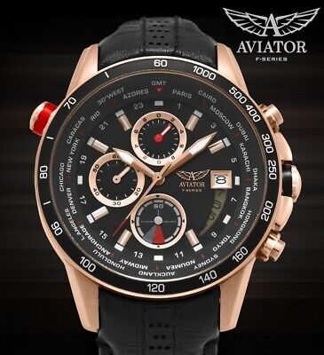 AVIATOR Mens Watch Rose Gold Steel Case 100m Waterproof Pilot Quartz Chronograph Aviator Pilot Chronograph Watch