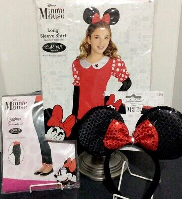 Minnie Mouse Costume  Child LS Shirt/Leggings w/Tail/Sequin Bow Headband - NEW](Child Mouse Costume)