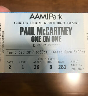 1x Paul McCartney Dec 5th Gold Reserve Ticket