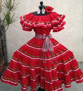 Mexican fiesta 5 de mayo wedding tricolor red dress for Mexican wedding dresses for sale