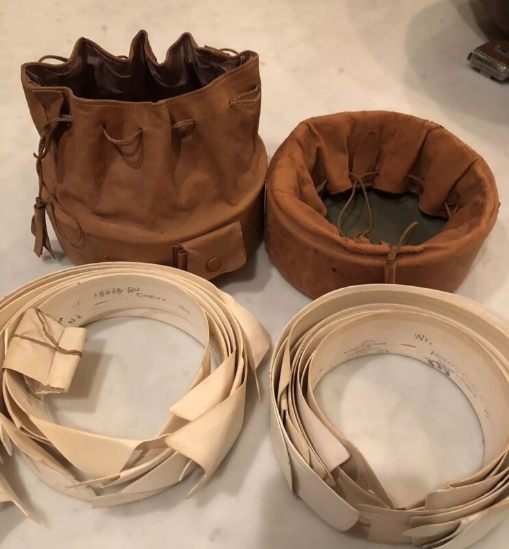 Two Antique Leather Drawstring  Collar Storage Bags with 12 Gentlemen