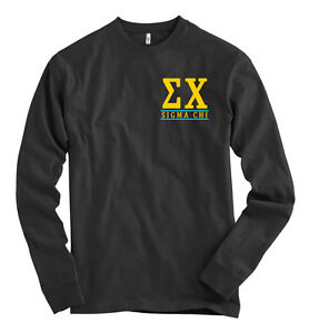 sigma chi american apparel black long sleeve t shirt With sigma chi letter shirt