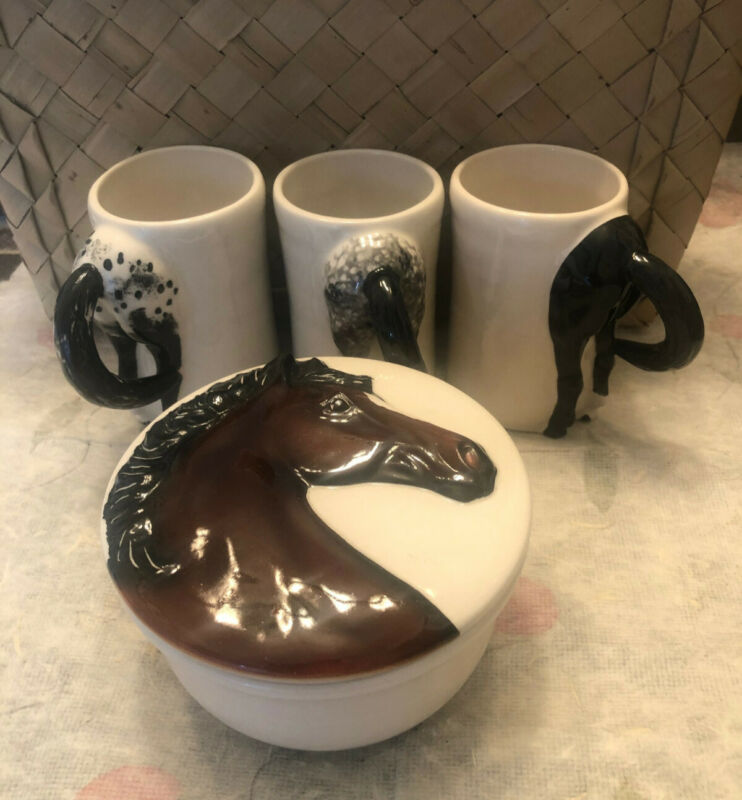 Vintage Happy Appy Horse Butt Art Pottery (4) Coffee Mugs (1) Horse Trinket Box