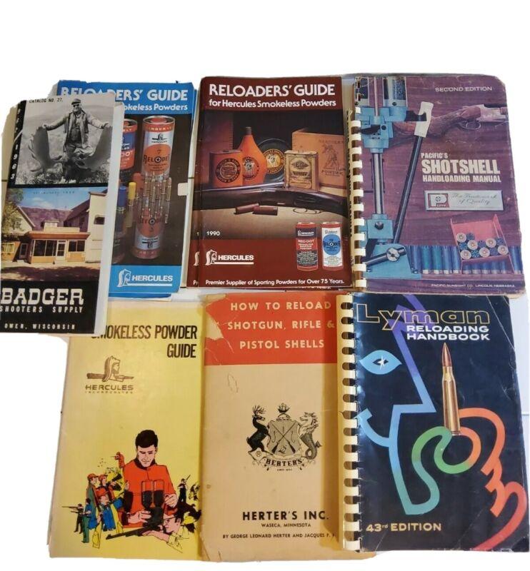 Vintage Lyman Reloading Handbook Manual + Herters Pacifics Hercules Badger lot