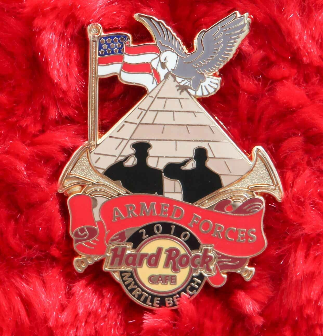 Hard Rock Cafe Pin Myrtle Beach ARMED FORCES Pyramid American Flag Eagle Lapel - $16.99