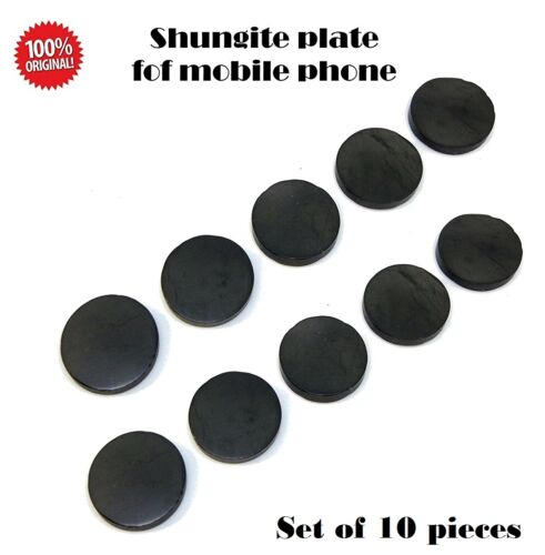 10 x Shungite Mobile cell phone sticker ROUND 19 mm EMF protection POLISHED