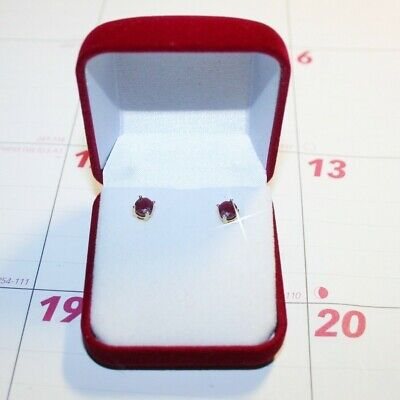 1.20ctw Round Natural Ruby Stud Earrings in Gift Box 14k Yellow Gold over 925 SS