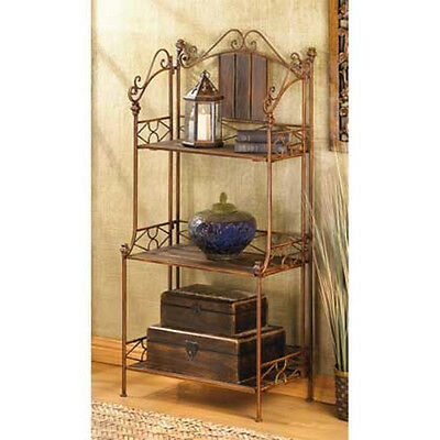 Bronze Metal & brown Wood 3 Shelf ...