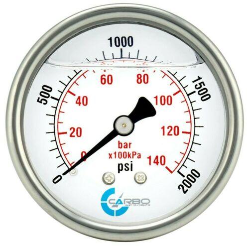 "2-1/2"" Pressure Gauge, ALL STAINLESS STEEL, Liquid Filled, Back Mnt, 2000 Psi"
