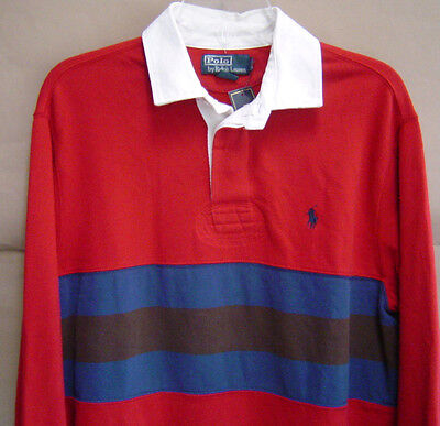 Chest Stripe Rugby Shirt - NWT $98 POLO RALPH LAUREN Mens L CHEST STRIPE RUGBY Eaton Red CLASSIC FIT Shirt