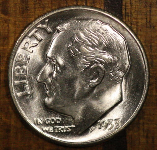 1953 S Roosevelt Dime CH BU LUSTER! 90% Silver US Coin from OBW Rolls!