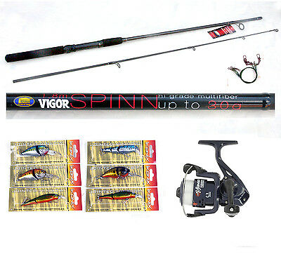 Vigor 6ft Spin Rod 4-15g & RT Reel combo with 3 Lures /plugs pike / zander/perch