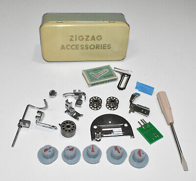 Vintage Sewing Machine Zig Zag Singer Accessories Tin Box includes 5 Cams
