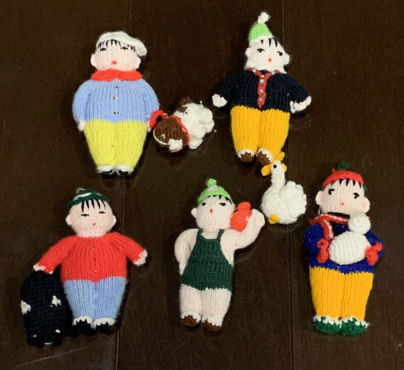 Knitted Mini Asian People With Animals Animurugi? Lot of 5