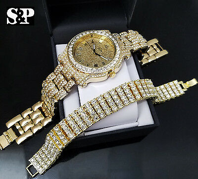 Men's Best Luxury Hip Hop Iced Out Bling Lab Diamond WATCH & BRACELET Gift