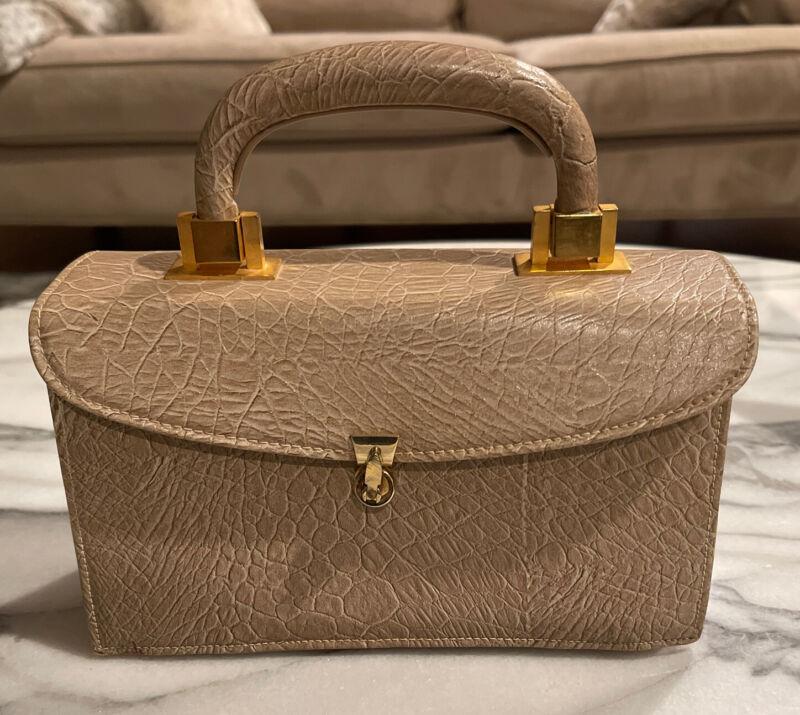 Meyers USA Vintage Beige Purse Box Embossed Snake Print Nude Handbag Gold Accent