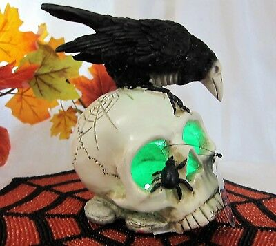 Changing Color Led Lighted Spooky Raven Black Spider on Skull Halloween Decor 8