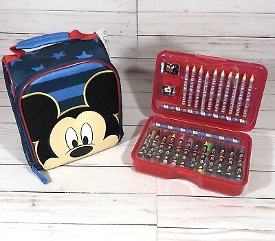 Disney MICKEY Mouse Lunch Box & COLORED PENSILS BOX School BLUE BOY LOT OF 2 NWT