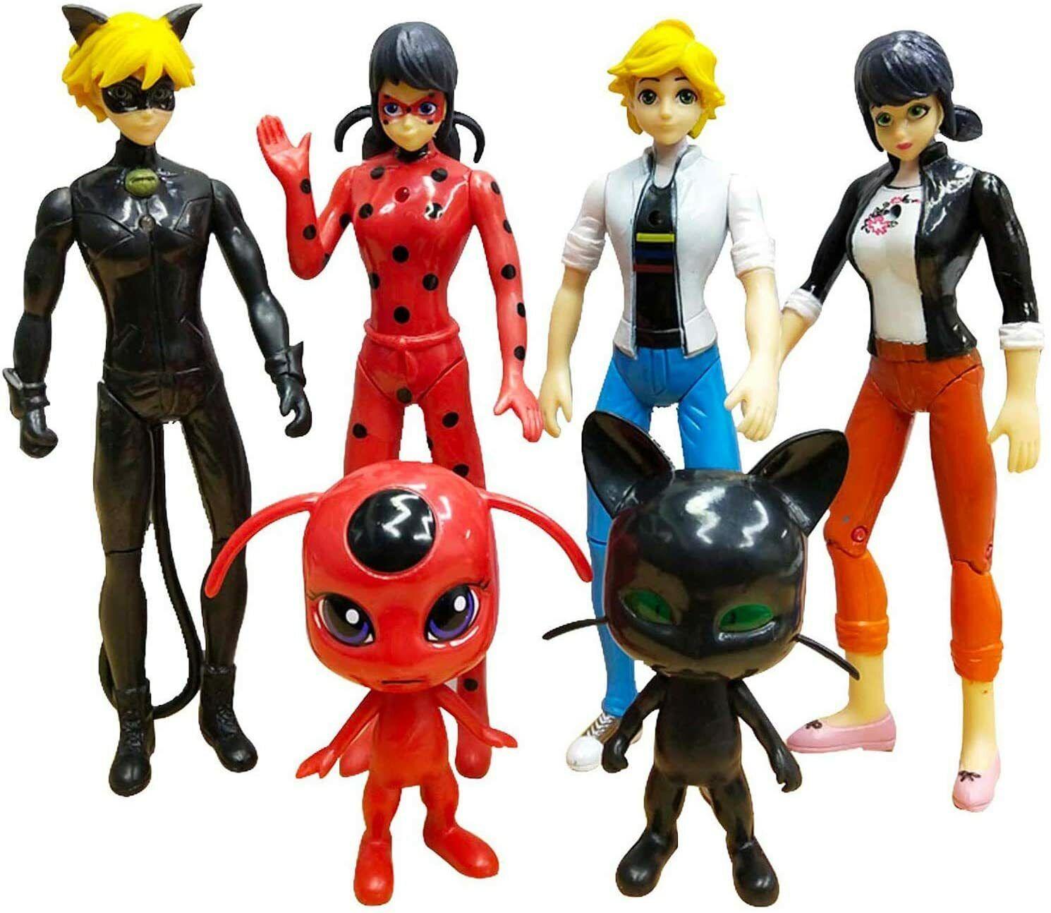 как выглядит 6 PCS Ladybug cat Noir Miraculous Action Figure Toy Set Minifigures Tikki Dolls фото