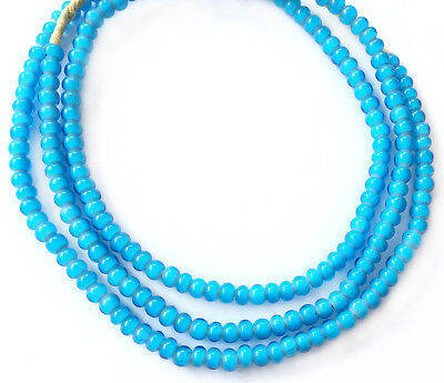 5mm Ghana African Turquoise Blue White Heart glass African trade beads