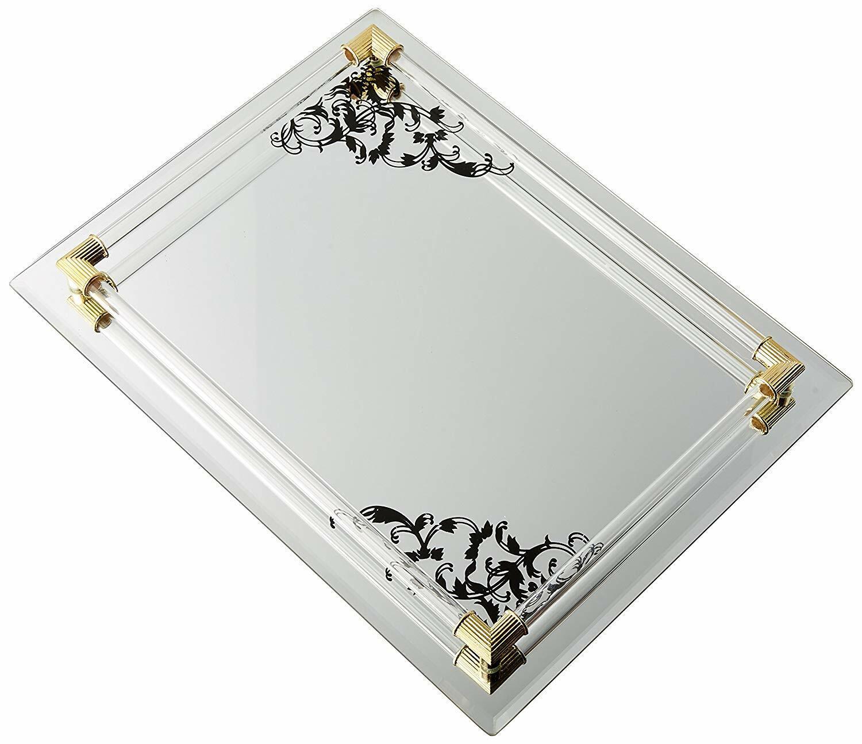 Glass Vanity Tray Jewelry Perfume Gold Mirror Catch All Dish