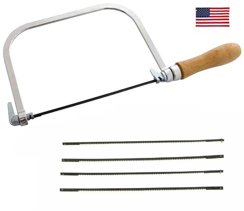 "US SHIP 5"" Coping / Fret Saw Wood Handle Steel Metal Frame + 5 Blades HO"